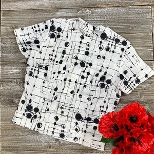 Unique Handmade White & Black Blouse